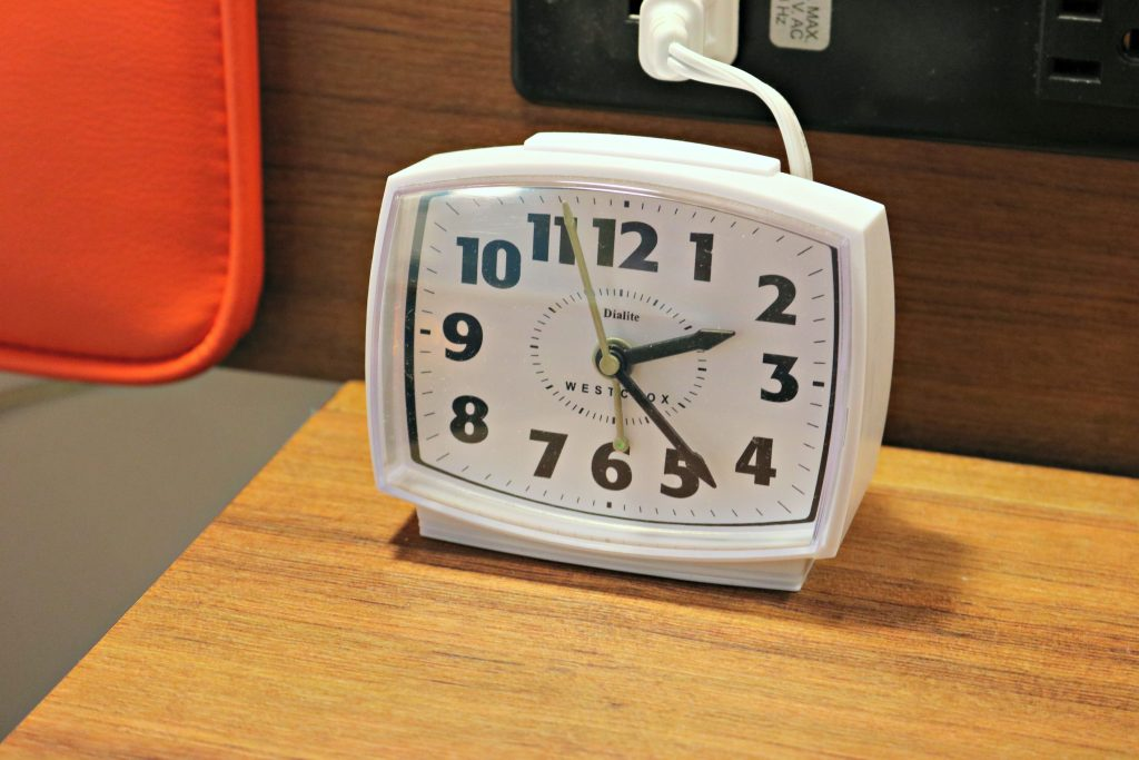 Retro alarm clock in the room at Cabana Bay Beach Resort.