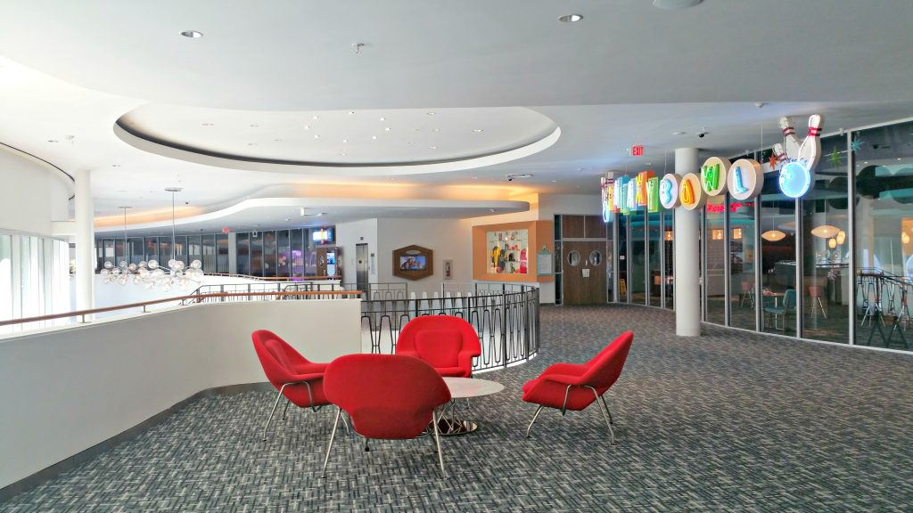 The bowling alley inside the Cabana Bay Beach Resort.