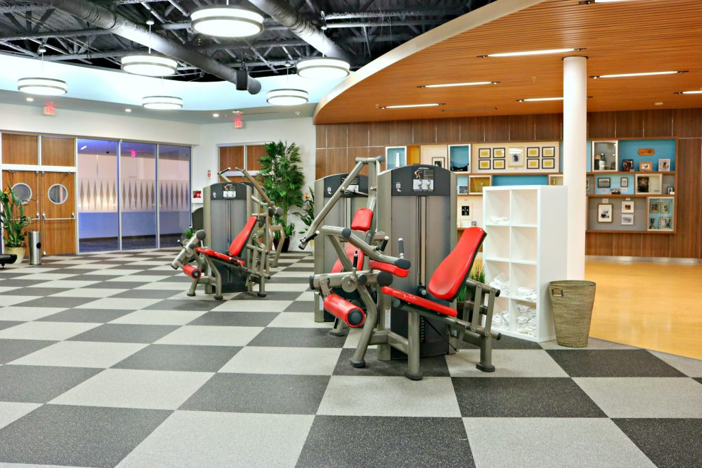 The gym equipment inside the gym at Cabana Bay Beach Resort.