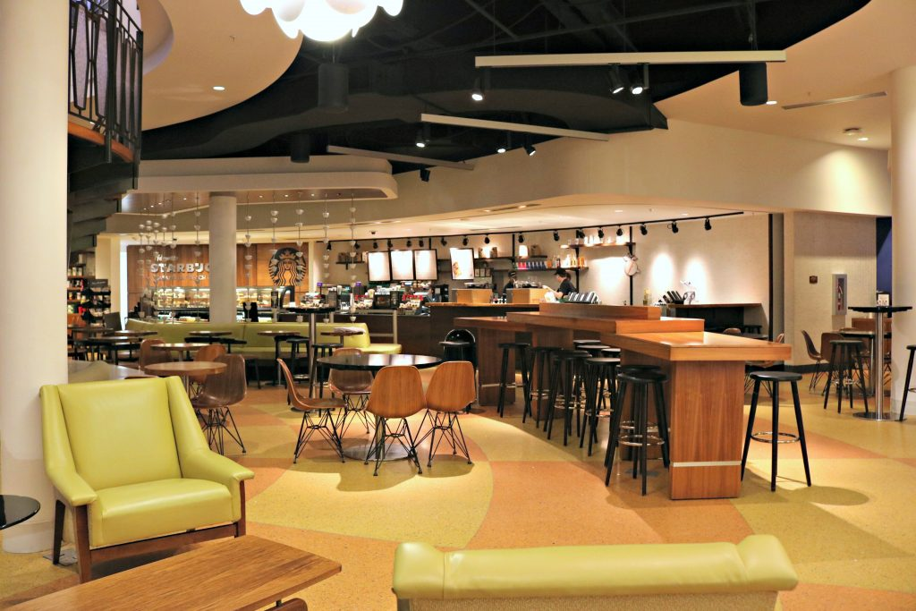 The bar area inside the Cabana Bay Beach Resort.
