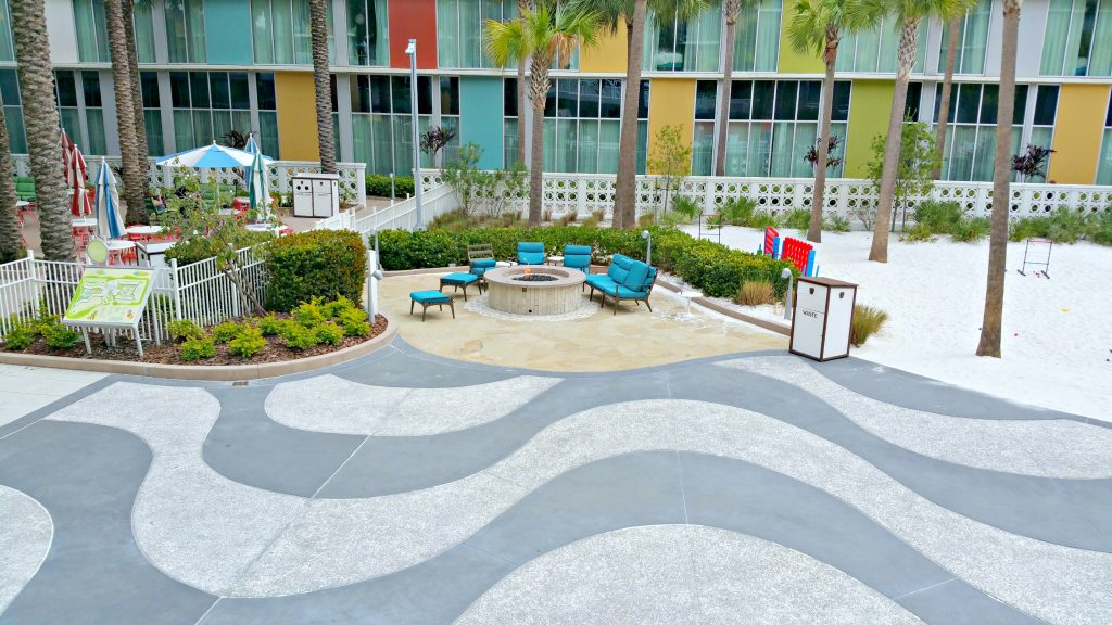 The fire pit area in the Cabana Bay Beach Resort.