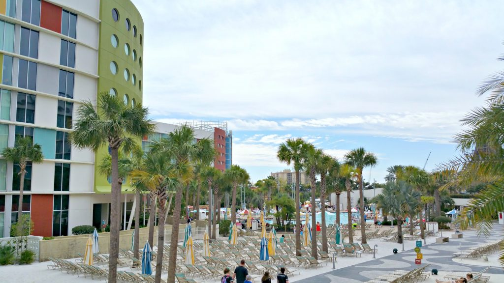 The beach area with sand at Cabana Bay Beach Resort.