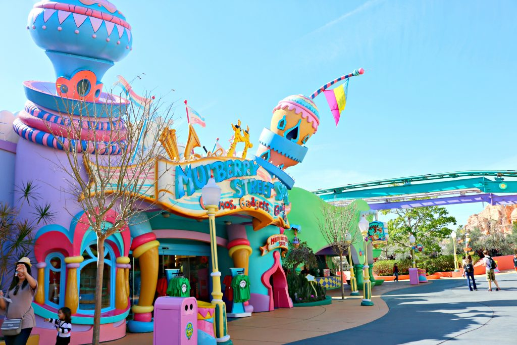 A colourful building is shown at Seuss Landing in Universal Studios.