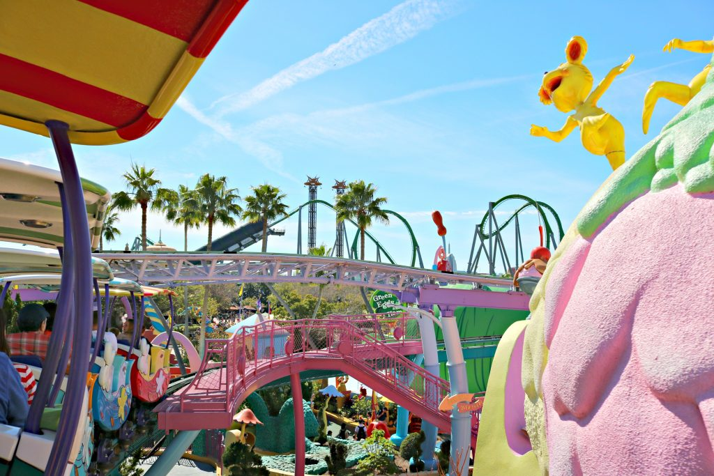 Another view of Seuss Landing with the Hulk ride in the distance.