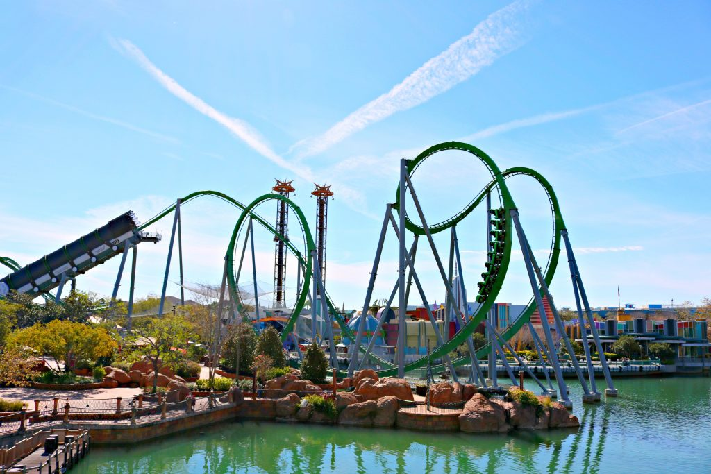 The entire ride of the Hulk ride at Universal Studios is shown.
