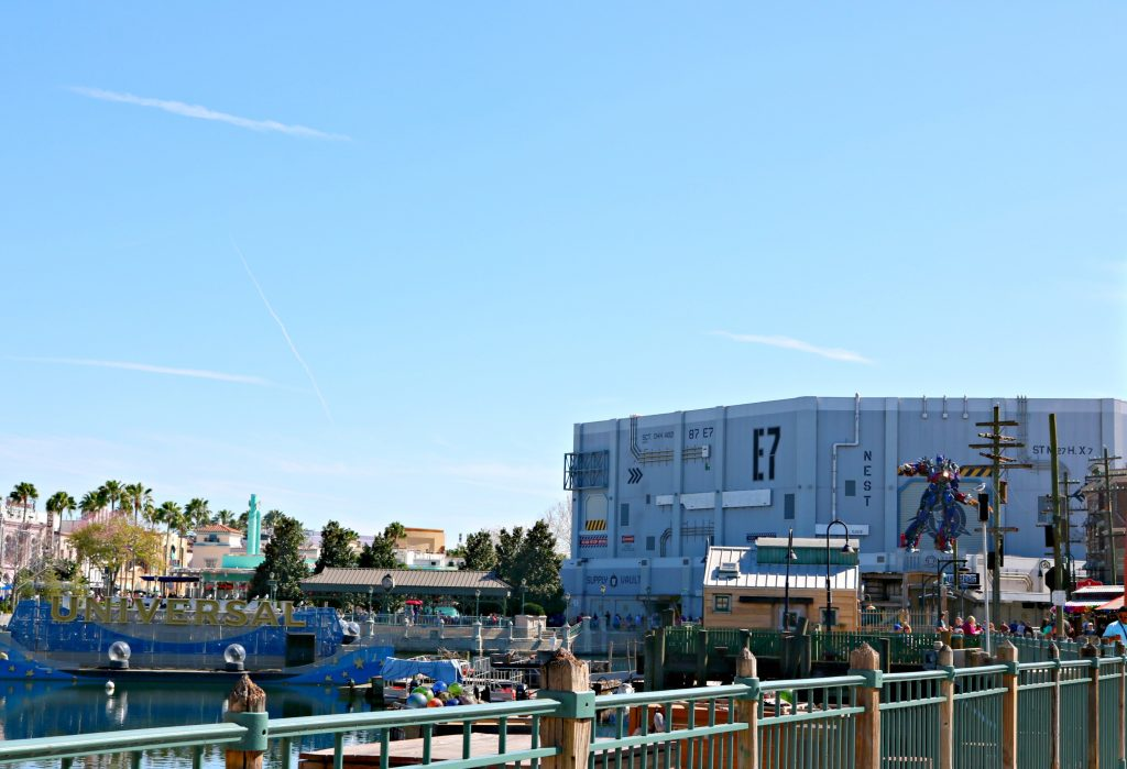 A look at the park, the Transformers ride is seen in the distance.