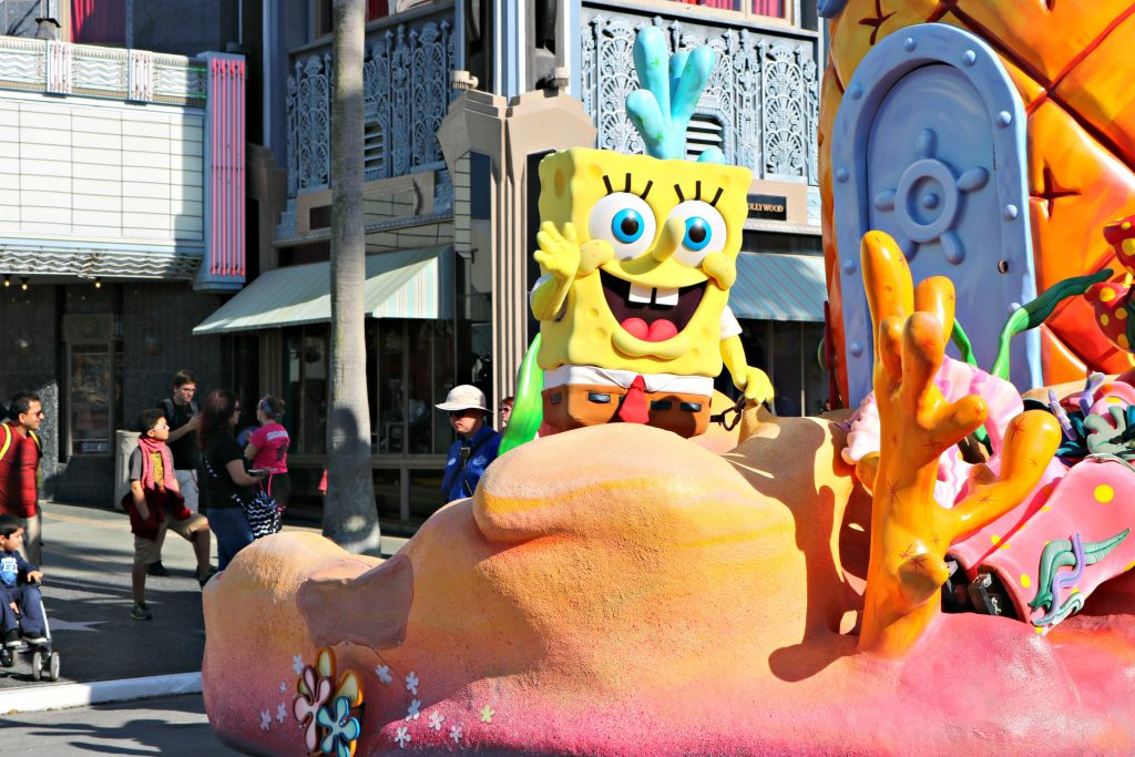 Spongebob waves atop his float in the parade.