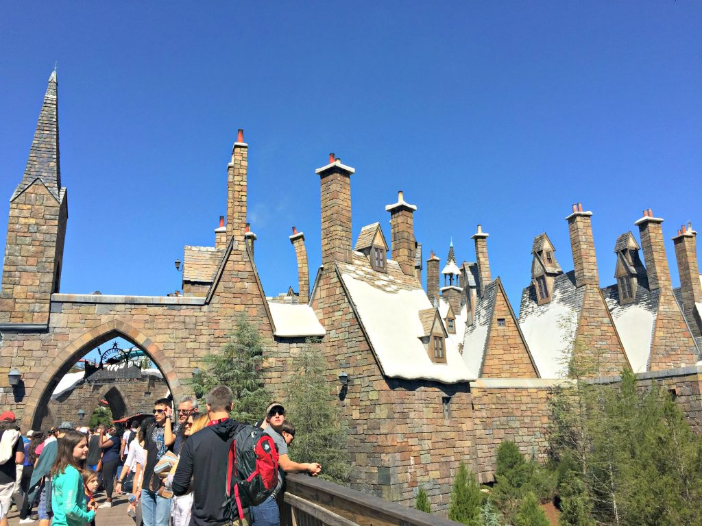 A crowd of people stand in front of Hogsmeade.
