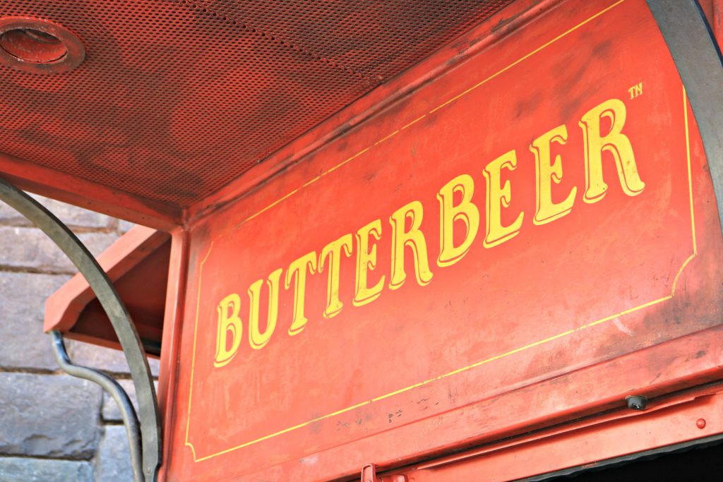 The side of the Butterbeer cart.
