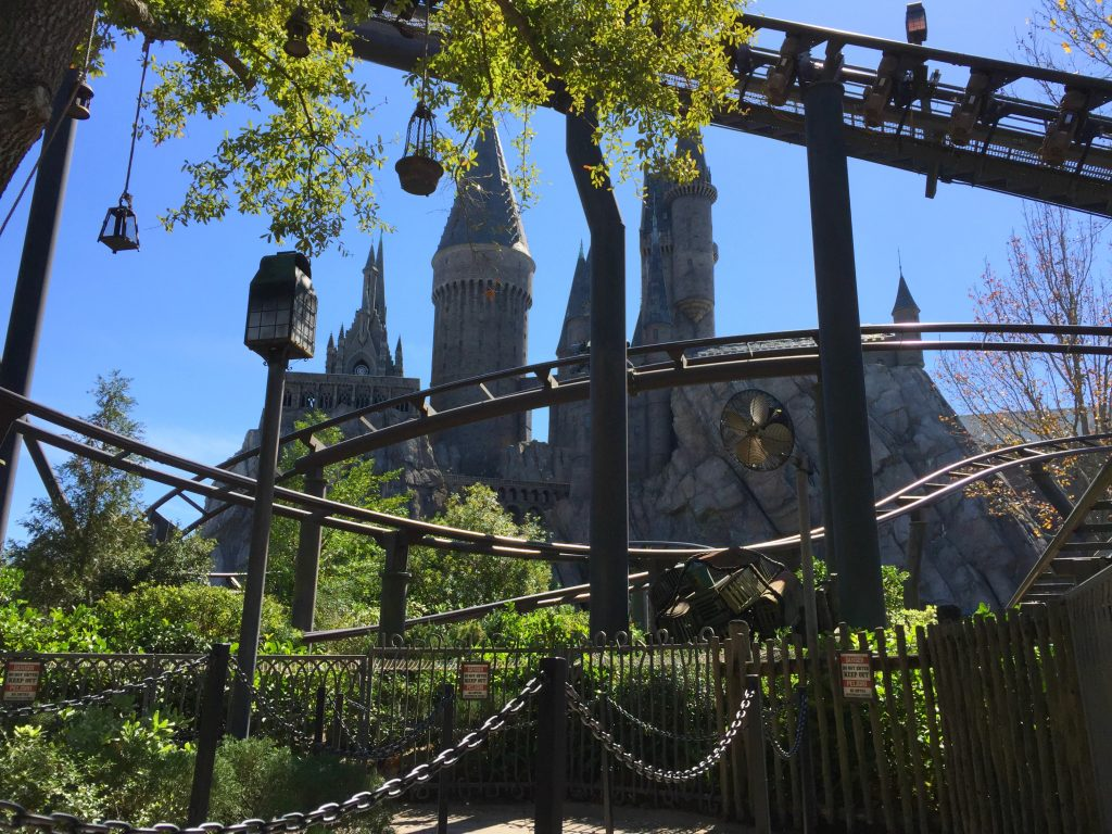 Flight of the Hippogriff ride with Hogwars in the background.