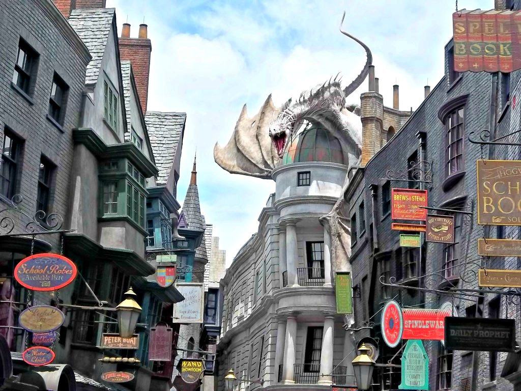 Dragon atop Gringotts Bank at Diagon Alley.