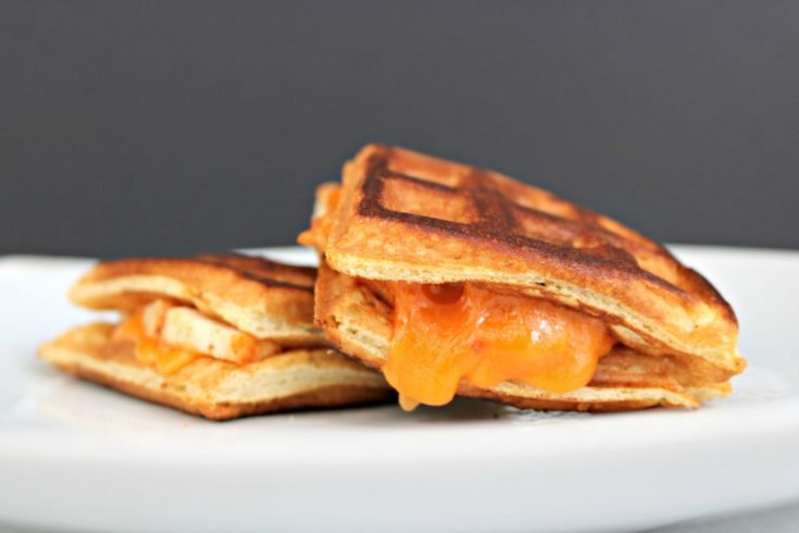 Chicken and Waffle Grilled Cheese with Spicy Maple Syrup