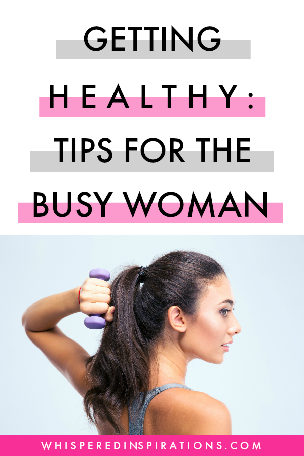 "A banner reads, ""Getting Healthy Tips for the Busy Woman,"" and a woman below it poses with a dumbbell."