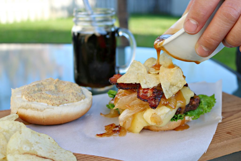 Celebrate Canadiana with this Quebec Maple Bacon Poutine Great Value Burger! #WeLoveGreatValue