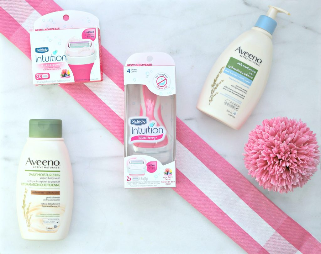 Flat lay of Aveeno, Schick Inutuition razors and replacements. These help prepare your legs for summer.