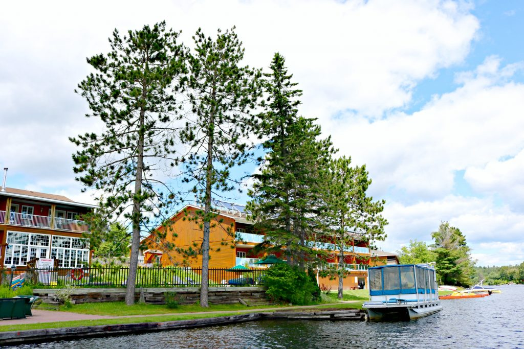 A look back at Couples Resort from a canoe in the lake.