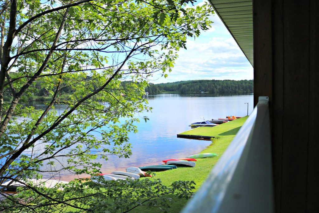 The view of the lake and canoes from one of the balconies.