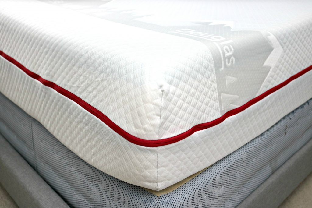 The corner of the Douglas Mattress by GoodMorning.com, a close up.