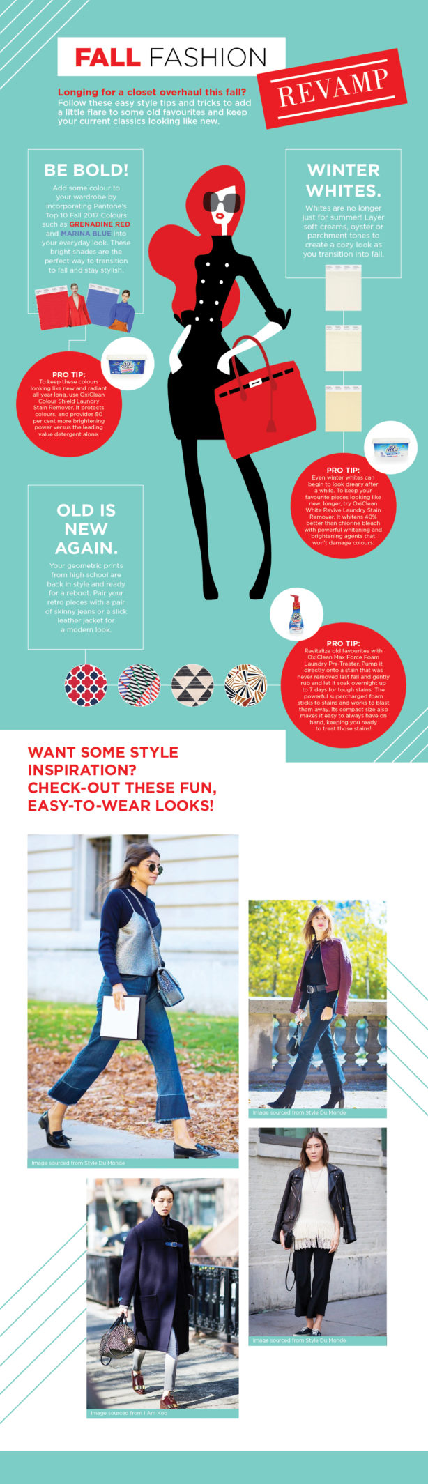 A Fall Fashion infographic with tips and outfit styles to revamp your fall fashion.
