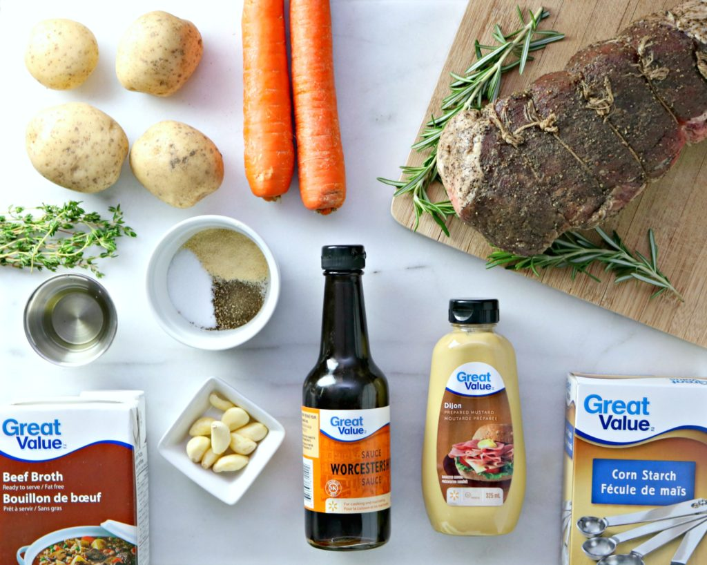 All the ingredients needed for making a roast beef with all the fixings.
