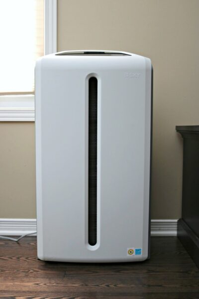An Atmosphere SKY Air Purifier System stands in a living room.