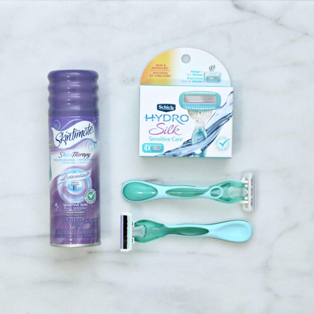 Skintimate Skin Therapy shaving cream and two Hydro Silk razors with Hydro Silk replacements.