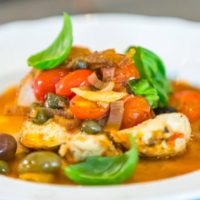 Roasted Chicken Thighs with Fresh Tomato & Olives
