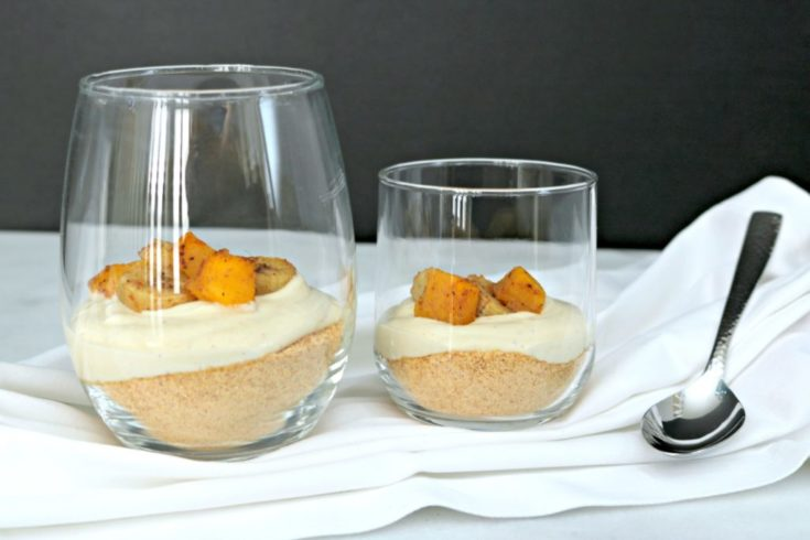 Roasted Banana Mango Cheesecake Cups