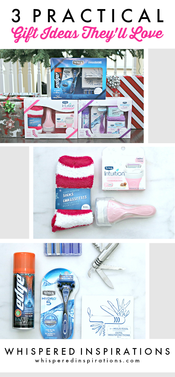 "A banner reads, ""3 practical gift ideas they'll love,"" and underneath is a picture of Schick holiday sets."