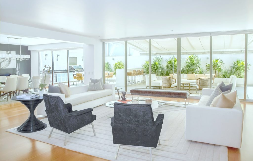 Gorgeous living room that leads to backyard.
