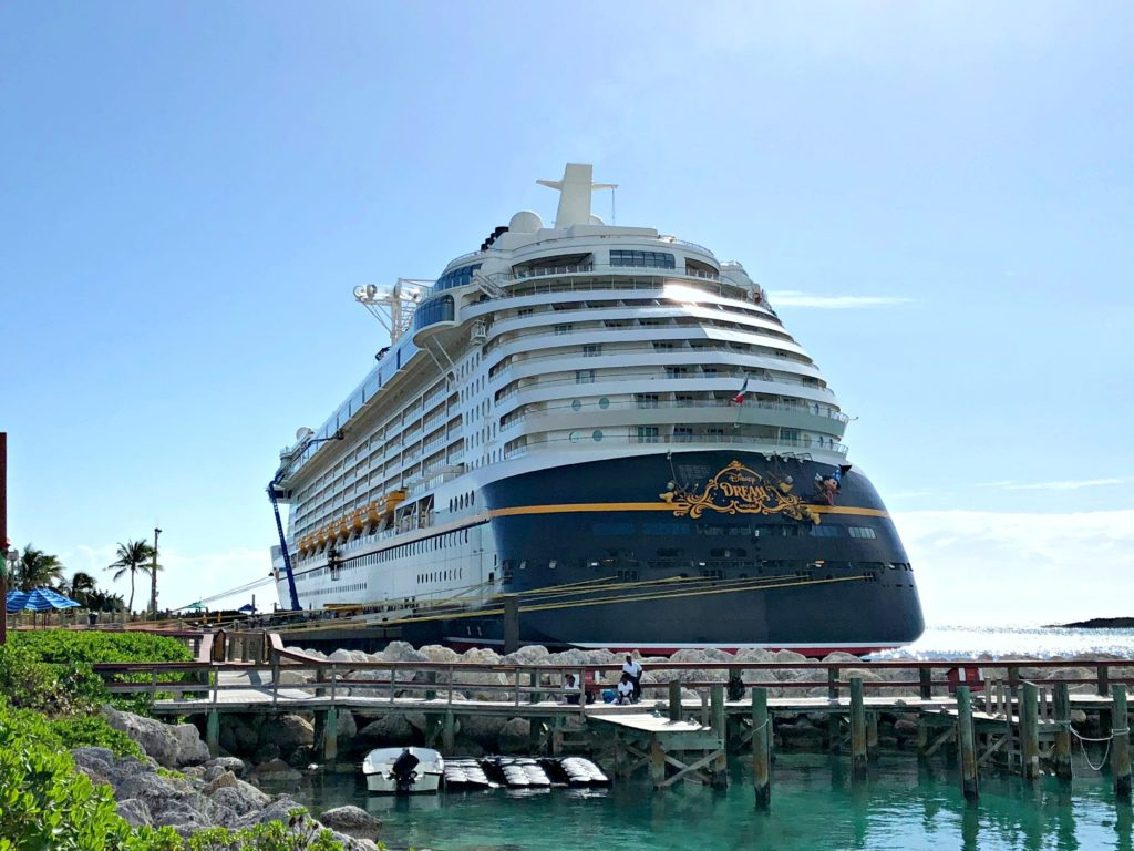 Disney Dream cruise ship docked at Castaway Cay.