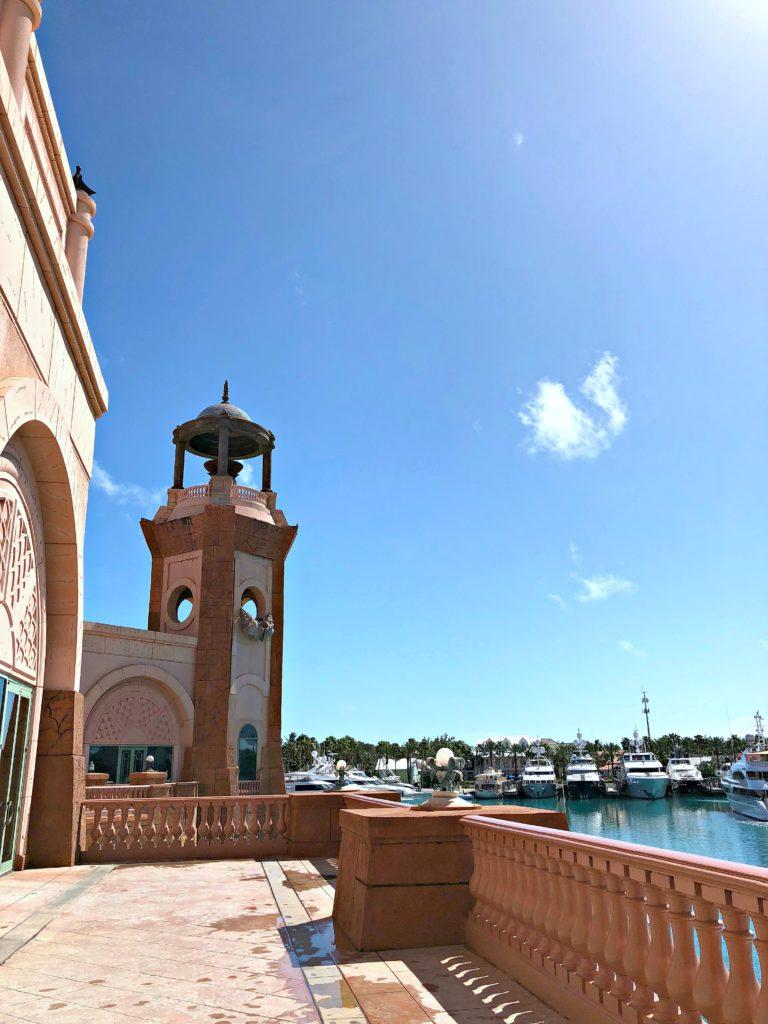Atlantis Resort balcony with marina.