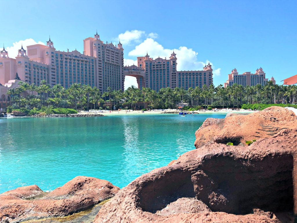 Atlantis resort in all its beauty and the cerulean lake is below.