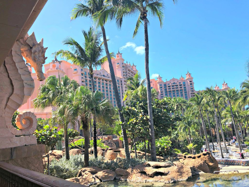 A look at Atlantis resort from the balcony of the casino, a seahorse holds up the roof.