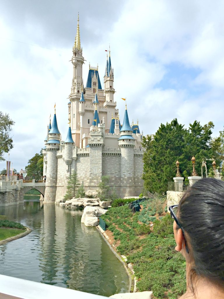 A teen looks up at Cinderella's castle.