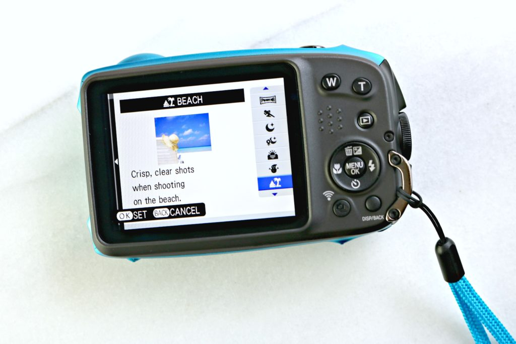 A Fuji XP 120 camera showing the back screen and available filters.