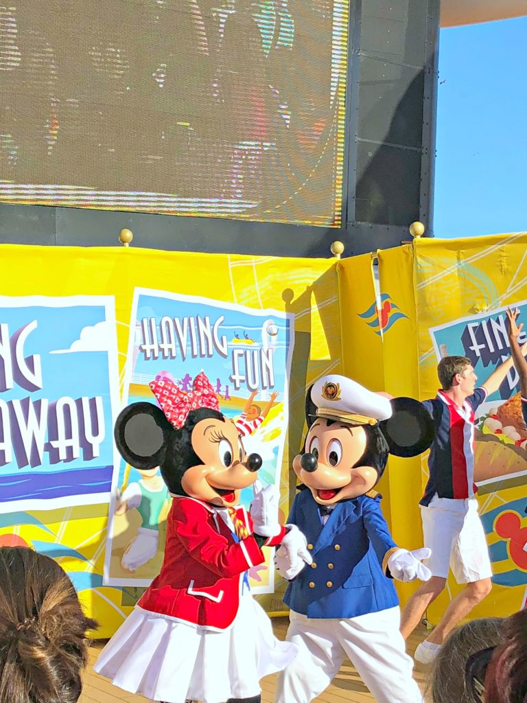 Mickey and Minnie dance at the Sailing Away party.