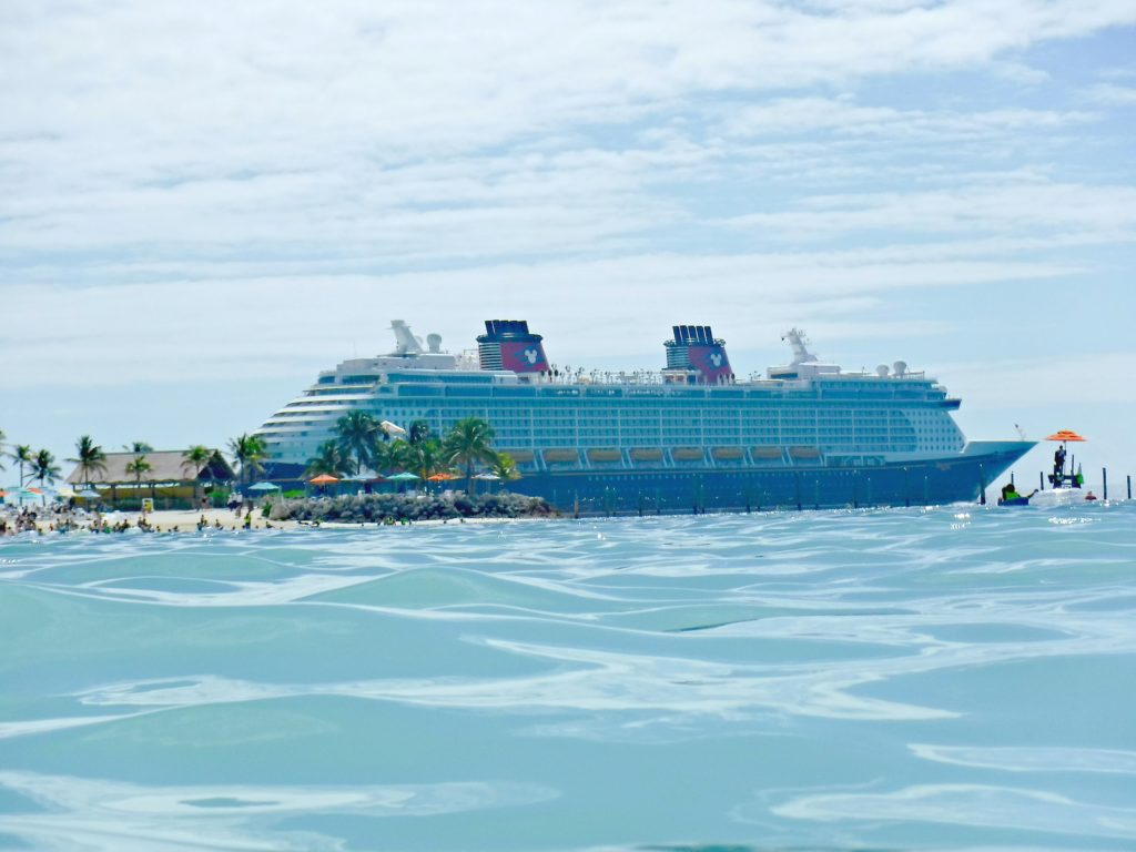 A zoomed in shot of the Disney Dream in the Bahamas.