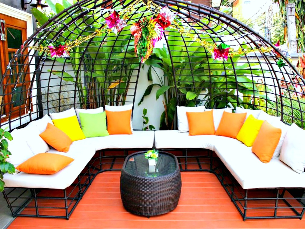 Colourful outdoor backyard furniture.