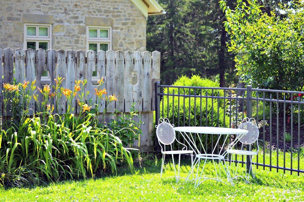Garden dinette in a beautiful backyard.