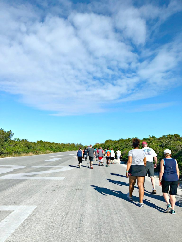 A large group of people walking the Disney's Castaway Cay 5K.