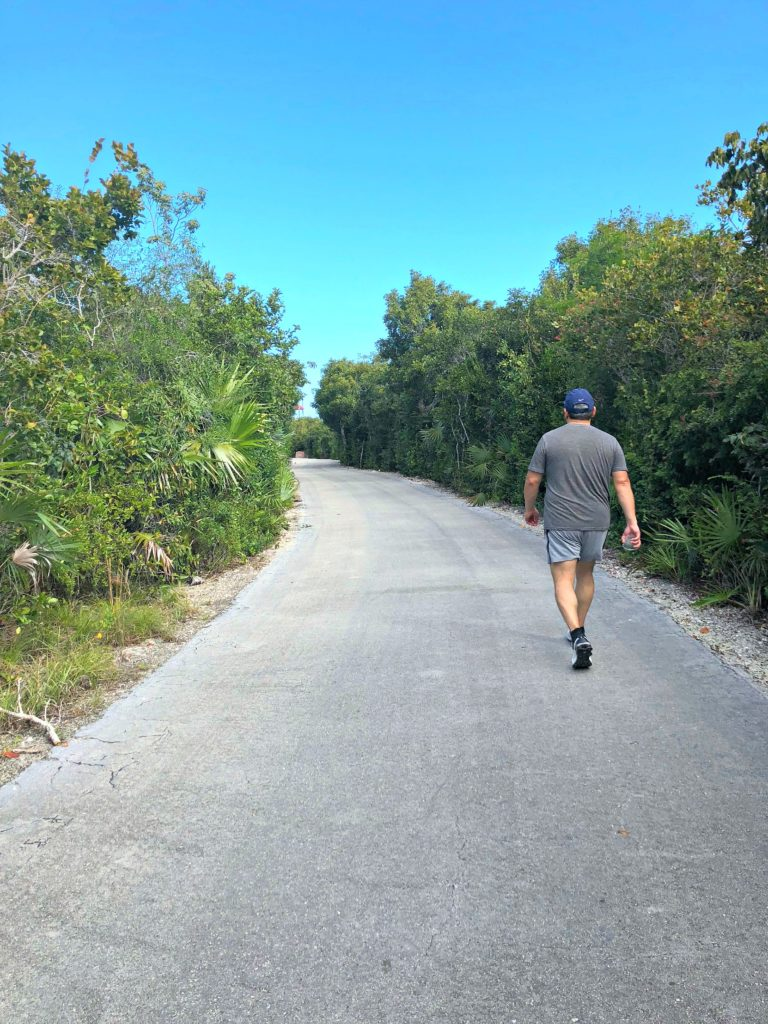 A man walks at Disney's Castaway Cay in the 5K.