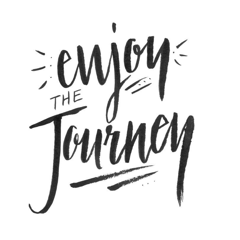 A black and white 'Enjoy the Journey' quote.