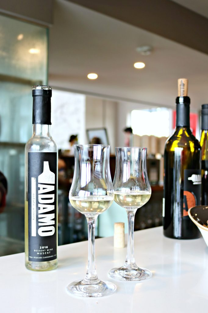 Some ice wine with two ice wine glasses are pictured at Adamo Estate Winery.
