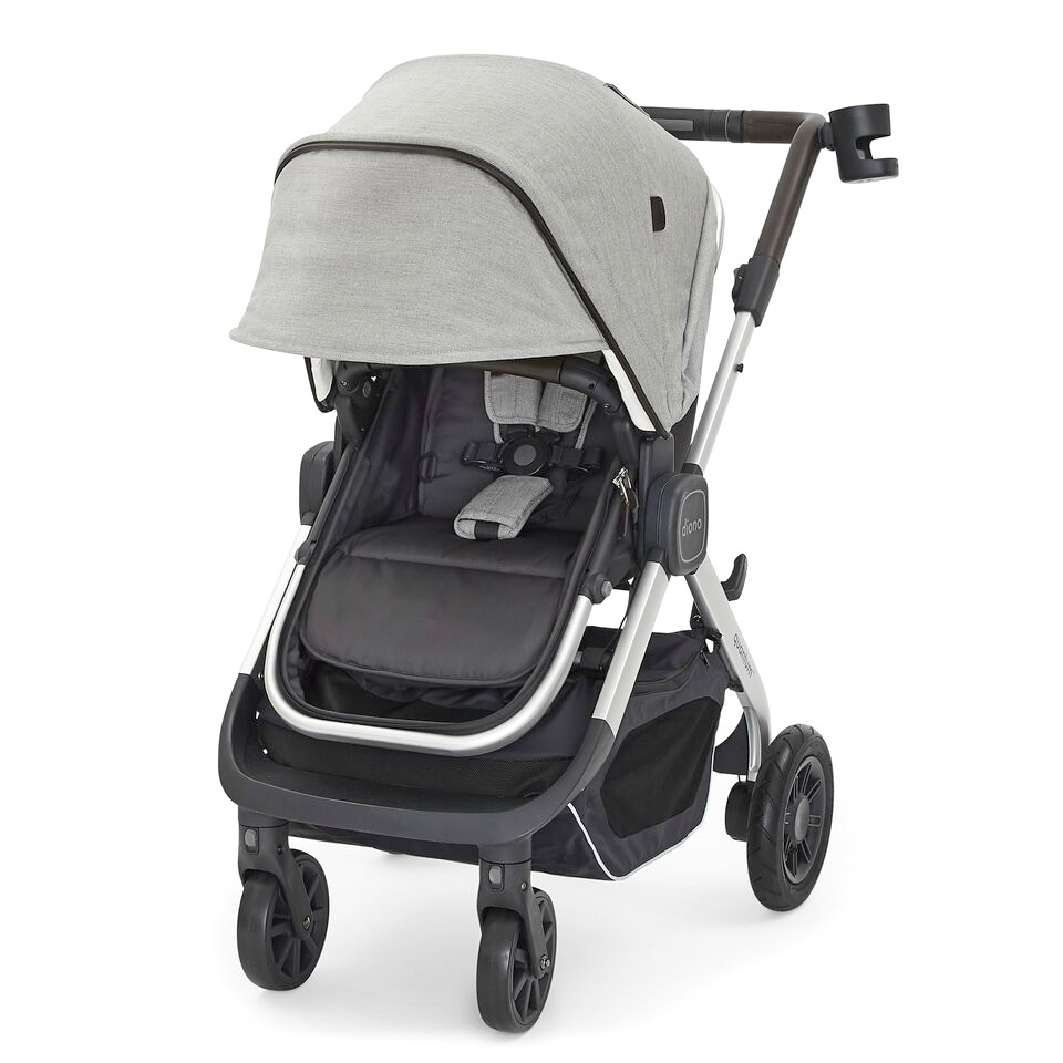 The diono Quantum Classic stroller pictured with the cover down.
