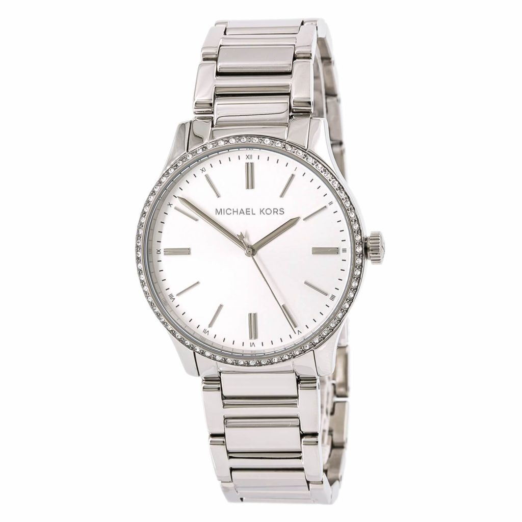 A gorgeous silver Micheal Kors watch.