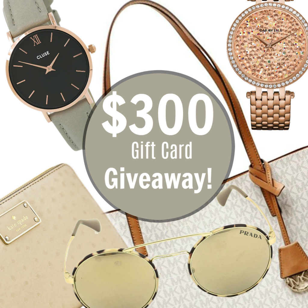 Watches, purses, wallet, watches and sunglasses are shown with a $300 Gift Card Giveaway sign.