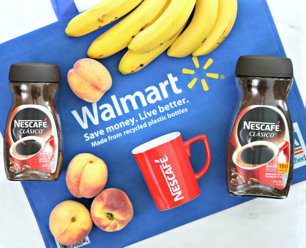A Walmart bag is shown laid flat with Nescafé Clásico jars in both sizes are shown. Along with bananas, peaches, and a Nescafé mug.