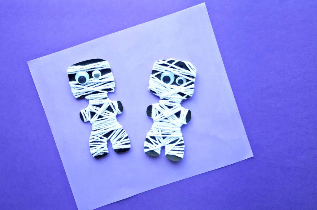 Two cute Halloween mummy crafts.