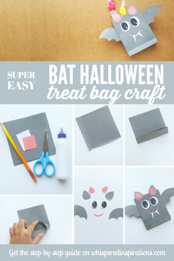 Bat Halloween Treat Bag craft for kids. Super easy to make and even easier with this step-by-step guide with FREE template. #crafts #halloweencrafts #DIY #kidscrafts